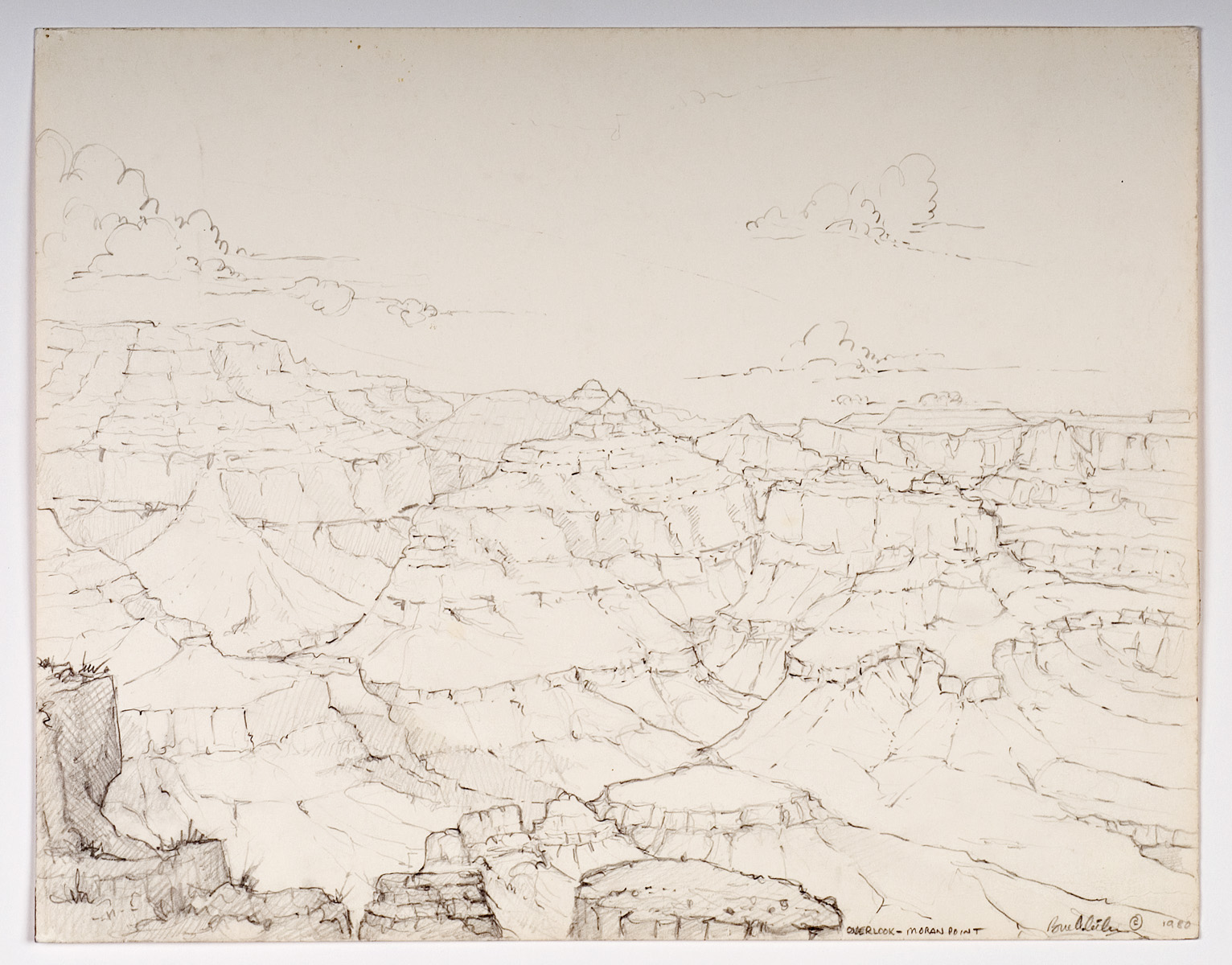 View from Moran Point - pencil 1980