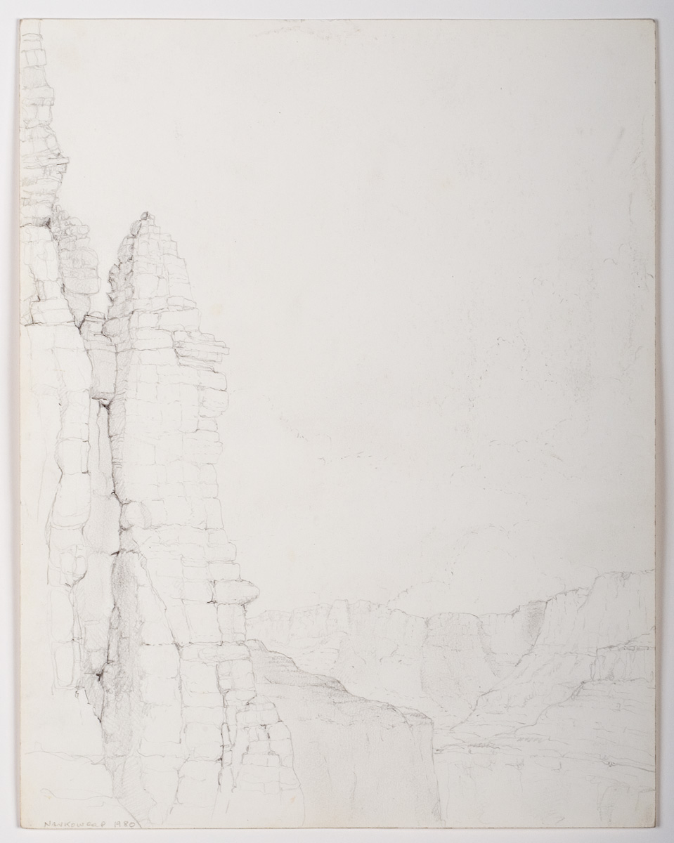 North Through the Eminence Break, pencil -   1980